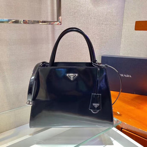 PRADA Brushed Leather Hand Bag