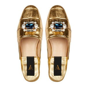 SAANAH | Slippers Odette Croco Deluxe Gold