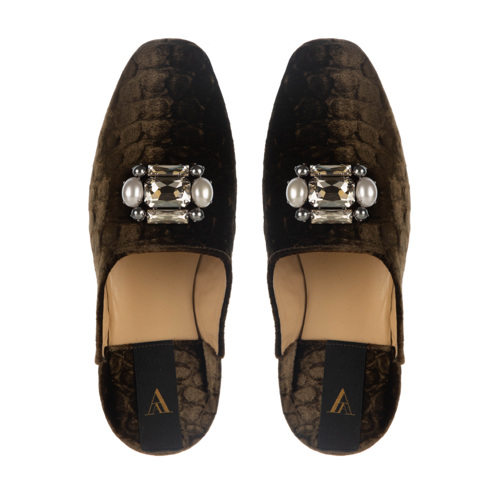 SAANAH | Slippers Odette Velvet Cel Brown