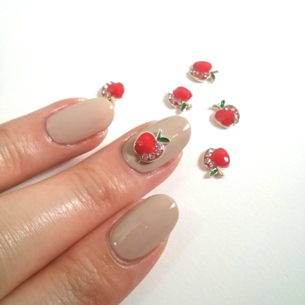 3d nail charm apple red