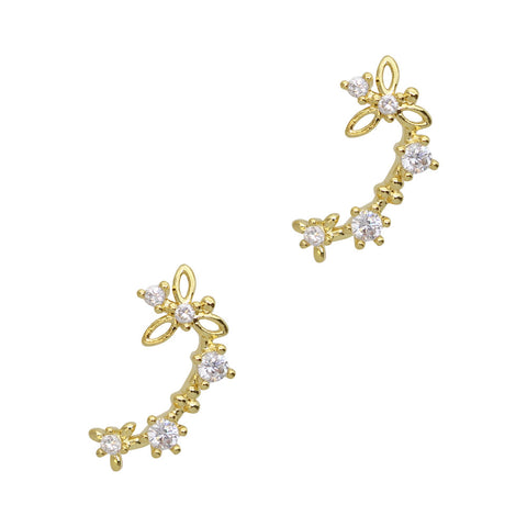 Daily Charme Nail Art Charms Floral Chain / Zircon Charm / Gold