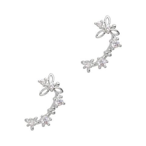 Daily Charme Nail Art Charms Floral Chain / Zircon Charm / Silver