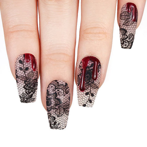 Black Lace Foil Transfer Gel Nails with Swarovski Blood Drip Gothic