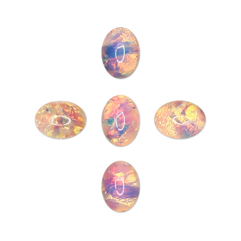 Glass Gem / Fire Opal Oval Stones for Nail Art Decor