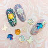Glass Gem / Cat Flatback Chameleon Pink Yellow Green Nail Art Decor