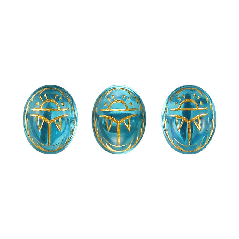 Nail Art Decor Glass Gem / Engraved Golden Scarab / Aqua