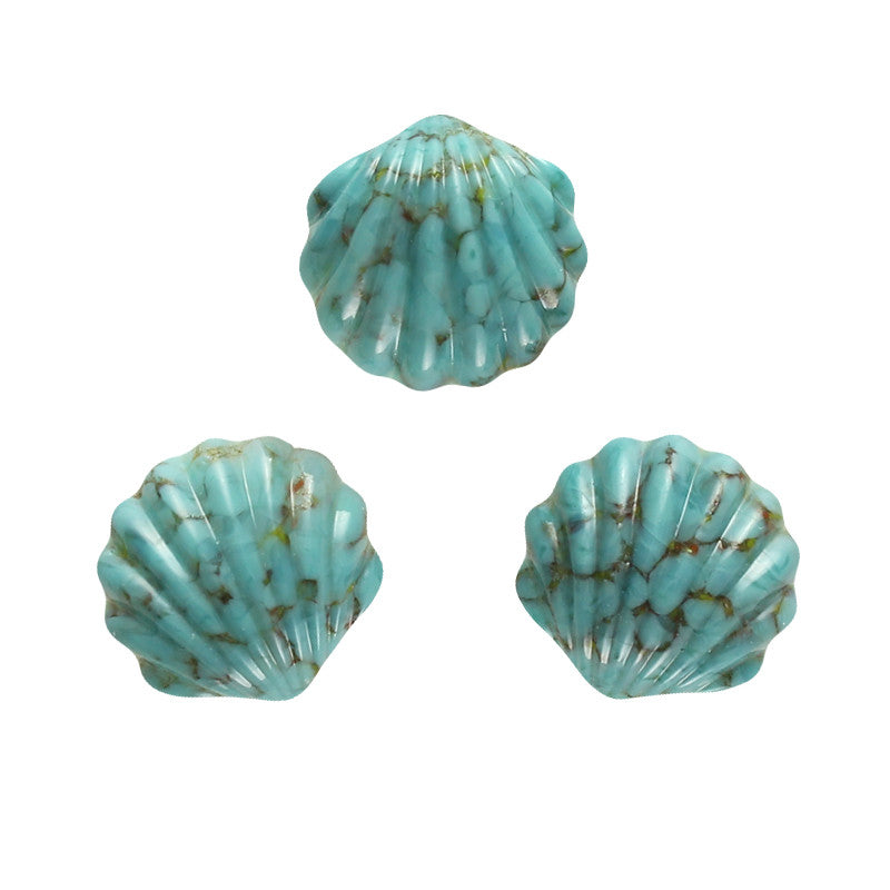 Sea Shell Glass Cabochon / Turquoise