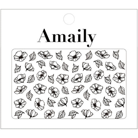 Amaily Japanese Nail Art Sticker / Poppy Flower / Black