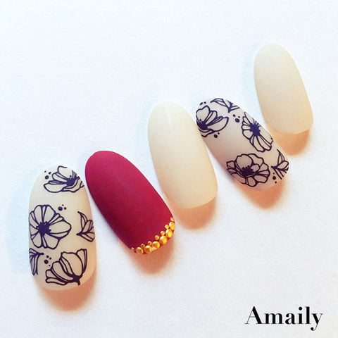 Spring 2017 Nail Design Amaily Japanese Nail Art Sticker / Poppy Flower / Black