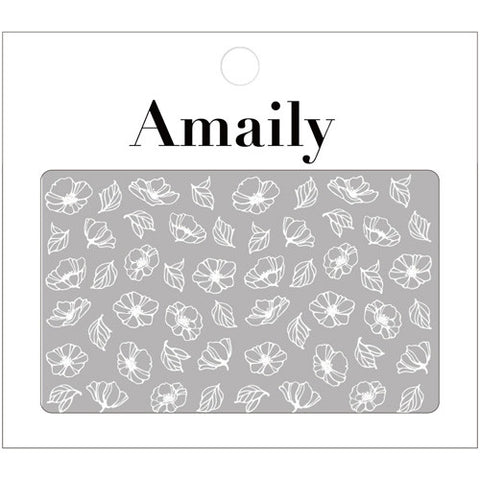 Daily Charme Nail Art Supply Amaily Japanese Nail Art Sticker / Poppy Flower / White