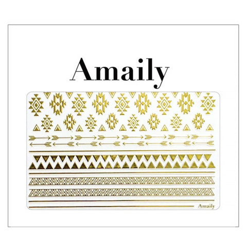 Daily Charme Amaily Japanese Nail Art Sticker / Native Patterns / Gold