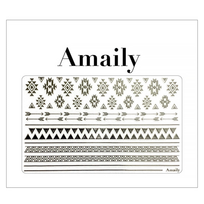 Daily Charme Amaily Japanese Nail Art Sticker / Native Patterns / Silver
