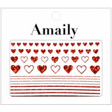 Amaily Japanese Nail Art Sticker / Lovely Hearts / Holographic Red