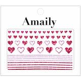 Amaily Japanese Nail Art Sticker / Lovely Hearts / Holographic Pink