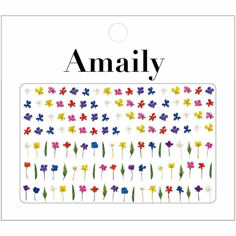 Amaily Japanese Nail Art Sticker / Pressed Flowers / Bright for Spring Nails