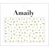 Amaily Japanese Nail Art Sticker / Pressed Flowers / White Spring Nails