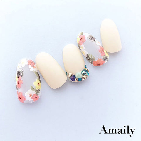 Amaily Japanese Nail Art Sticker / Tropical Flowers