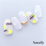 Amaily Japanese Nail Art Sticker / Stars / Neon Yellow