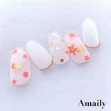 Amaily Japanese Nail Art Sticker / Stars / Neon Orange
