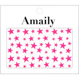 Amaily Japanese Nail Art Sticker / Stars / Neon Pink