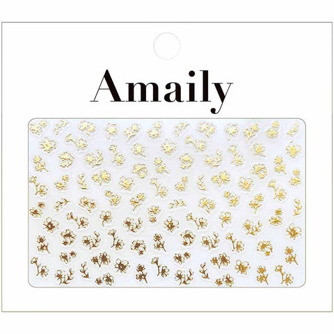 Amaily Japanese Nail Art Sticker / Petite Flower / Gold