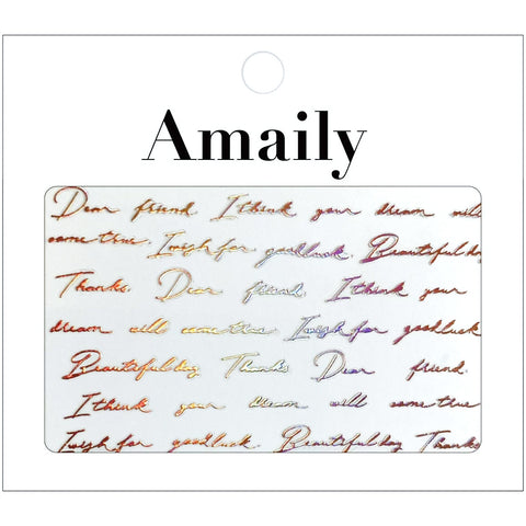Amaily Japanese Nail Art Sticker / Cursive Letters / Rose Gold Holo Holographic Limited Edition
