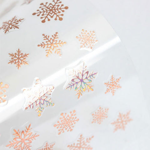 Amaily Japanese Nail Art Sticker / Snowflake / Holographic Rose Gold