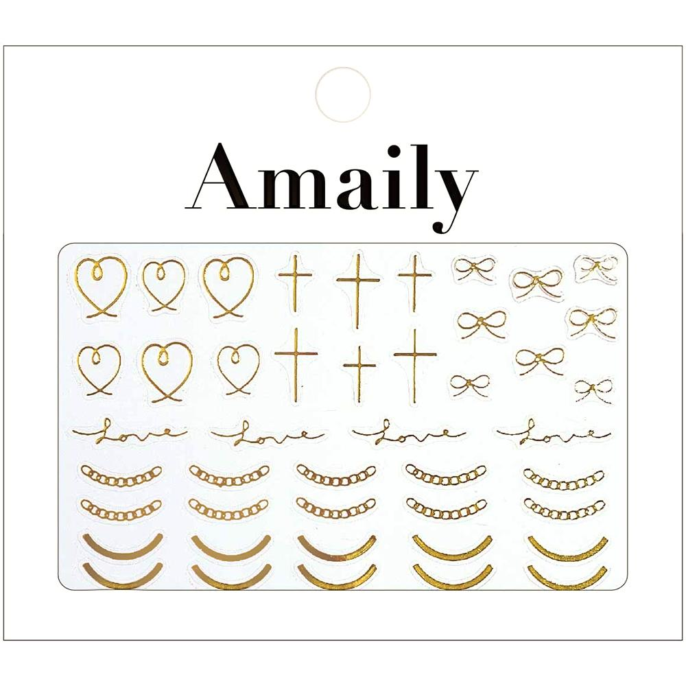 Amaily Japanese Nail Art Sticker / Wire Art / Gold