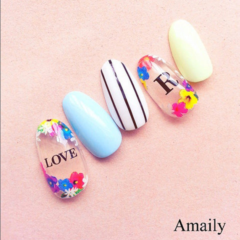 Daily Charme Nail Art Supply Amaily Japanese Nail Art Sticker / Large Alphabets / Black