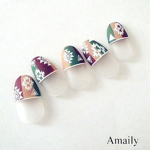 Daily Charme Nail Art Supply Amaily Japanese Nail Art Sticker / Native Patterns / White