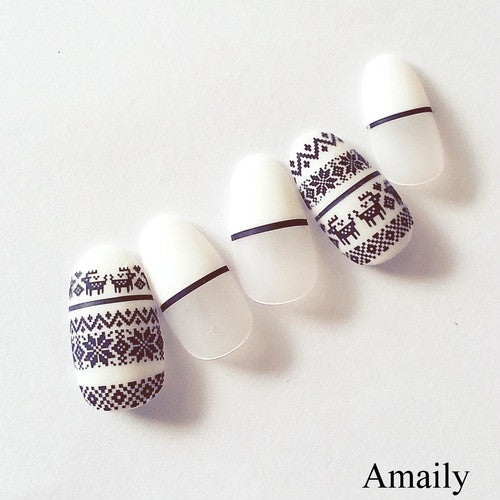 Daily Charme Nail Art Supply Amaily Japanese Nail Art Sticker / Nordic Patterns / Black