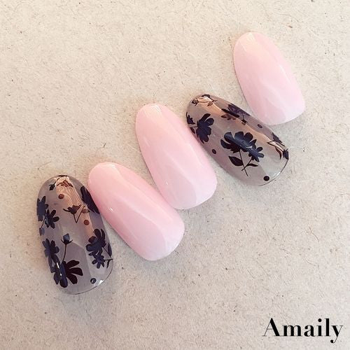 Daily Charme Nail Art Supply Amaily Japanese Nail Art Sticker / Flower Sillouette / Black