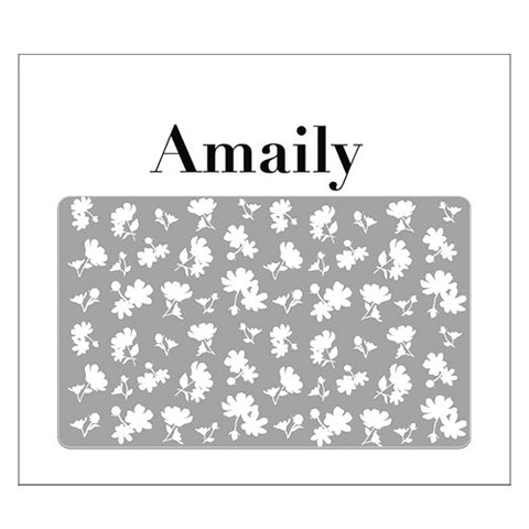 Daily Charme Nail Art Supply Amaily Japanese Nail Art Sticker / Flower Sillouette / White
