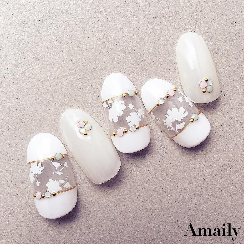 Amaily Japanese Nail Art Sticker / Flower Sillouette / White – Daily ...