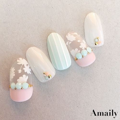 Daily Charme Nail Art Supply Amaily Japanese Sticker Flower Sillouette White