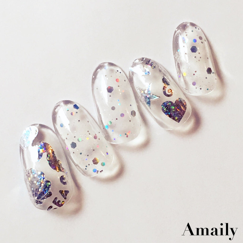 Amaily Japanese Nail Art Sticker / Sea Aurora / Holographic – Daily ...