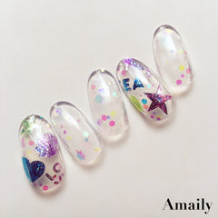Amaily Japanese Nail Art Sticker / Sea Aurora / Holographic Daily Charme