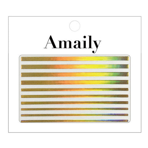 Daily Charme Nail Art Supply Amaily Japanese Nail Art Sticker / Holographic Lines / Gold