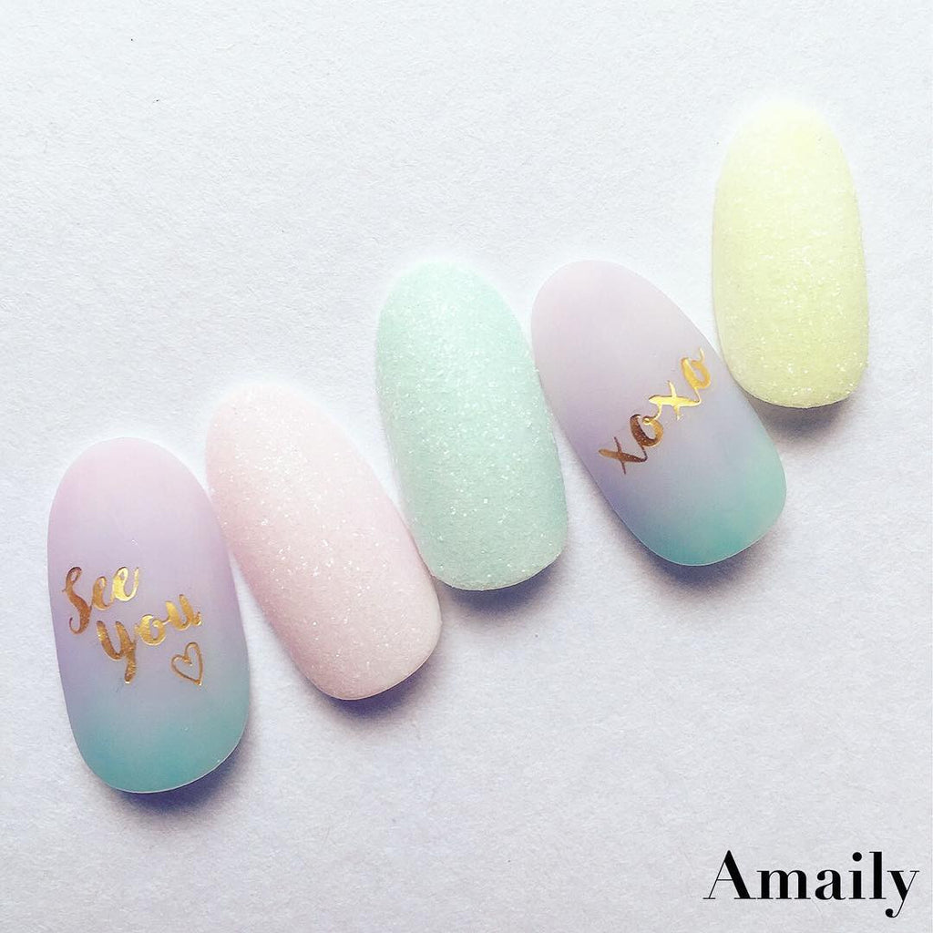 Amaily Japanese Nail Art Sticker / Greetings / Gold – Daily Charme