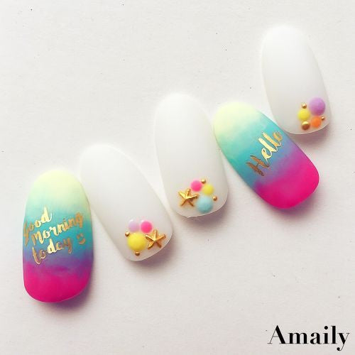 Daily Charme Nail Art Supply Amaily Japanese Nail Art Sticker / Greetings / Gold