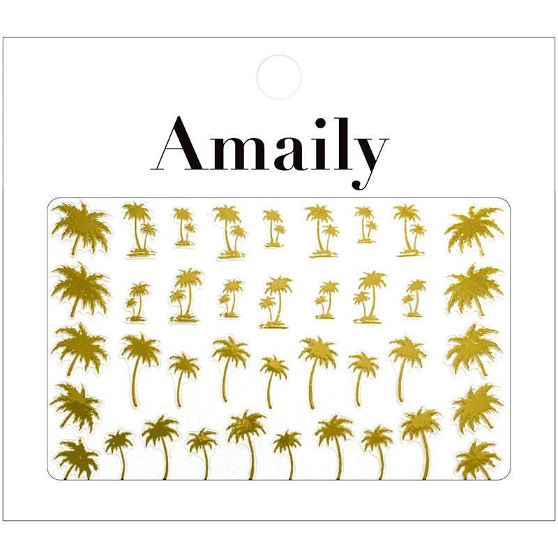 Amaily Japanese Nail Art Sticker / Palm Trees / Gold DIY California Nails