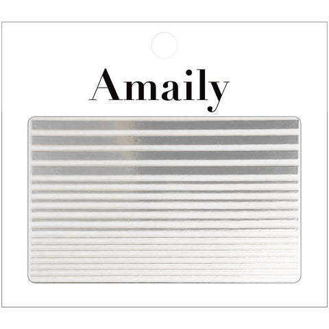 Amaily Japanese Nail Art Sticker / Fine Lines / Silver Cuff