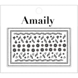 Amaily Japanese Nail Art Sticker / Folklore Tone / Black Floral Motif