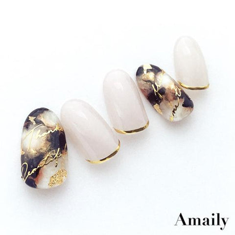 Amaily Japanese Nail Art Sticker / Cursive Letters / Gold