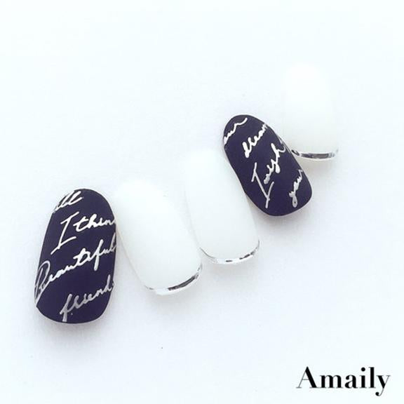 Amaily Japanese Nail Art Sticker / Cursive Letters / Silver
