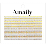 Amaily Japanese Nail Art Sticker / Wavy Lines / Gold