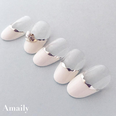 Amaily Japanese Nail Art Sticker / Wavy Lines / Silver