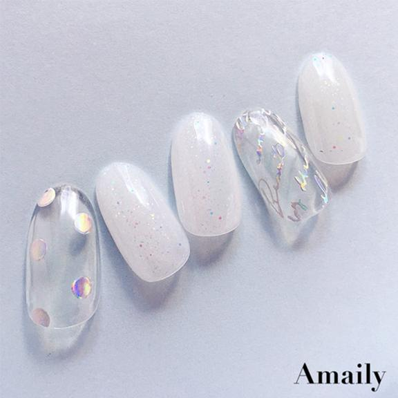 Amaily Japanese Nail Art Sticker / Holographic Cursive Letters