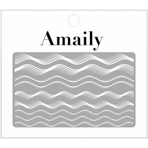 Amaily Japanese Nail Art Sticker / Waves / White