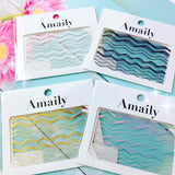 Amaily Japanese Nail Art Sticker / Waves / Gold